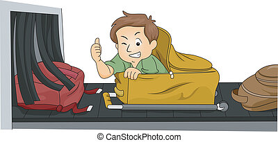 Luggage Man - Illustration of a Man Hiding Inside His...