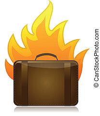 luggage on fire illustration design
