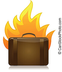 luggage on fire illustration design