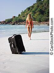 Luggage on the beach