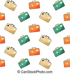 luggage pattern on white background.