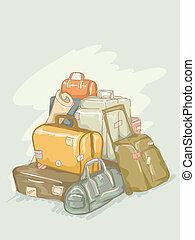 Luggage Pile - Illustration of Pile of Luggages