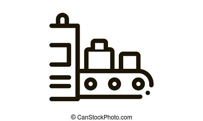 Luggage Security System Icon Animation. black Airport X-ray Equipment For Checking Passenger Baggage animated icon on white background