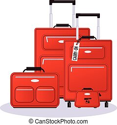 Luggage set - Set of luggage in red, realistic vector ...