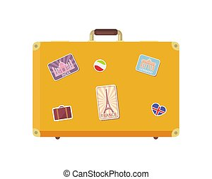 Luggage Time to Travel with Valise Icon Vector - Luggage...