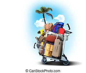 Luggage tourists with big suitcases