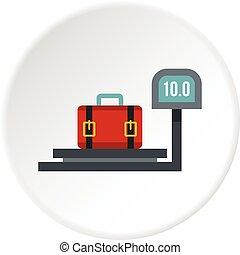 luggage weighing icon circle