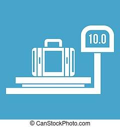 Luggage weighing icon white