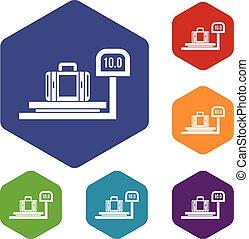 Luggage weighing icons set