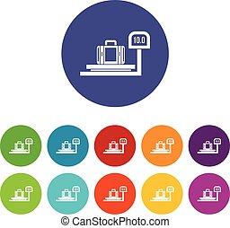 Luggage weighing set icons