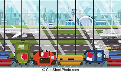 Cartoon illustration of an airport