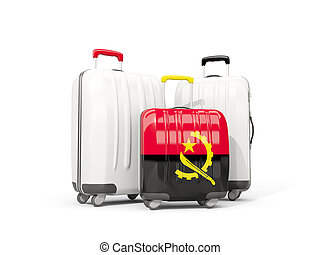 Luggage with flag of angola. Three bags isolated on white