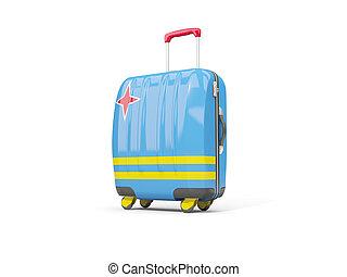 Luggage with flag of aruba. Suitcase isolated on white