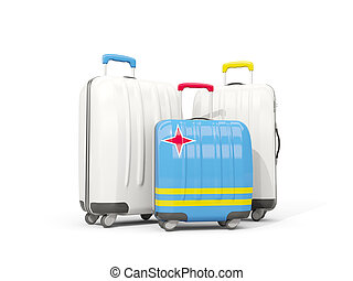 Luggage with flag of aruba. Three bags isolated on white