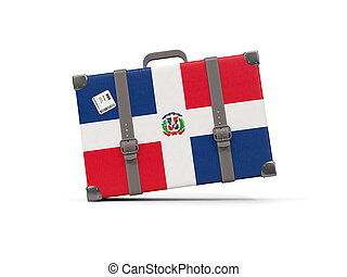 Luggage with flag of dominican republic. Suitcase isolated on white