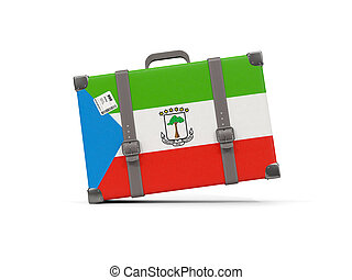 Luggage with flag of equatorial guinea. Suitcase isolated on white