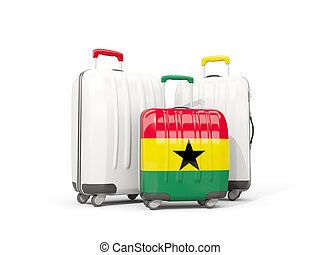 Luggage with flag of ghana. Three bags isolated on white