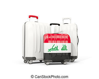 Luggage with flag of iraq. Three bags isolated on white