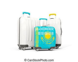 Luggage with flag of kazakhstan. Three bags isolated on white