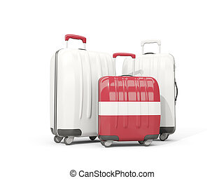 Luggage with flag of latvia. Three bags isolated on white