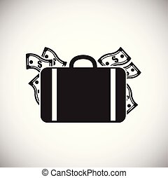 Luggage with money on white background