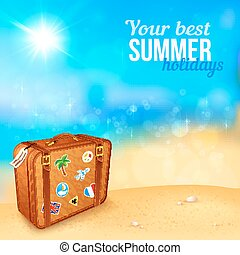 Luggage with traveling stickers at sunny beach