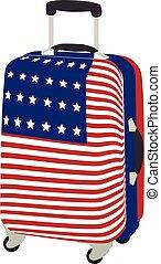Luggage with usa flag