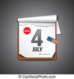 luglio, calendario, 4, giorno indipendenza