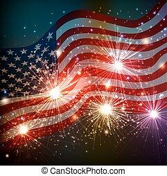 luglio, fireworks, fondo, 4
