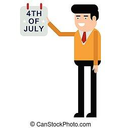 luglio, mostra, calendario, quarto, uomo