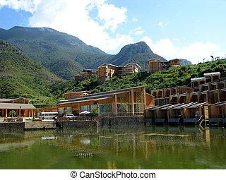 Lugu Lake lanscape, Yunnan province, China, panorama
