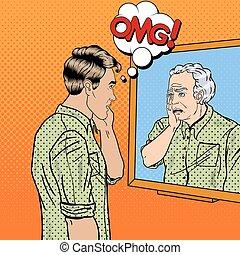 lui-même, art, plus vieux, choqué, regarder, pop, vecteur, illustration, miroir., homme