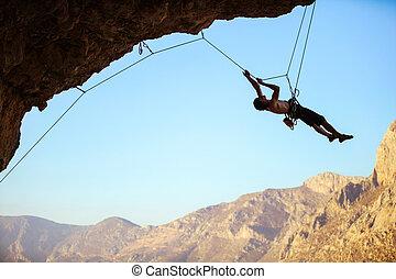 lui-même, haut, corde, traction, rocher, utilisation, grimpeur