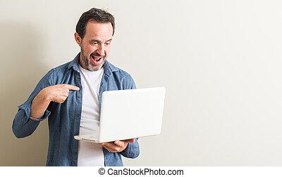 lui-même, pointage, ordinateur portable, figure, informatique, doigt, utilisation, surprise, homme aîné