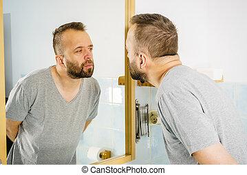 lui-même, regarder, miroir, homme