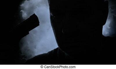 lui-même, silhouette, mâle, suicide, tuer, préparer, tenue, ...