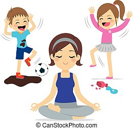 luidruchtig, kinderen, moeder, yoga