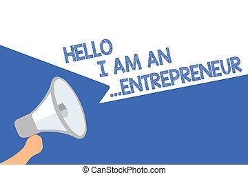 luidspreker, bellen, of, concept, zakelijk, tekst, belangrijk, stellen, op, hallo, persoon, betekenis, loud., toespraak, handschrift, ...entrepreneur., startups, megafoon, boodschap, uit sprekend