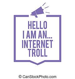 luidspreker, ..., concept, het communiceren, troll., paarse , tekst, frame, internet, problemen, schrijvende , betekenis, belangrijk, argumenten, media, besprekingen, handschrift, megafoon, information., hallo, sociaal