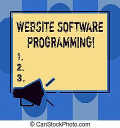luidspreker, website, of, concept, programmering, ruimte, enables, tekst, programming., coderen, schrijvende , software, geluid, betekenis, plein, photo., leeg, handschrift, megafoon, overzichten, pictogram