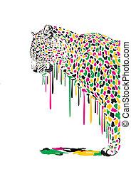luipaard, schilderij, abstract