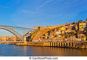 luis, portugal, porto, sur, pont, rivière, douro