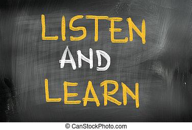 luisteren, en, leren, concept