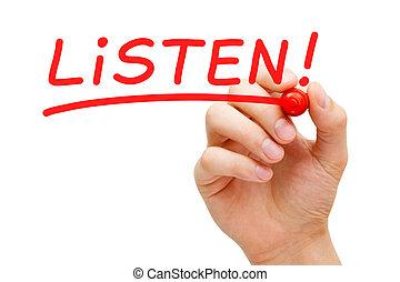 luisteren, rood, teken