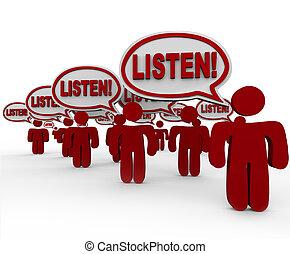 luisteren, -, velen, mensen pratend, veeleisend, aandacht