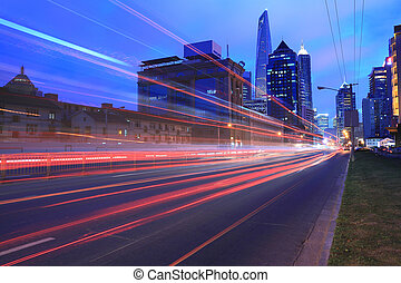 lujiazui, 上海, 城市, 夜晚光