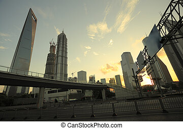 Lujiazui Finance & City offices buildings sunset landscape...