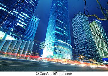 lujiazui, finance&trade, sáv, közül, modern, városi, építészet, háttér, éjjel, táj