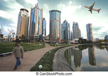 lujiazui, finance&trade, sáv, közül, shanghai, határkő, város, táj