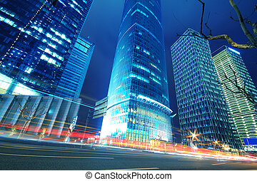 Lujiazui Finance&Trade Zone of modern urban architecture backgrounds at night landscape